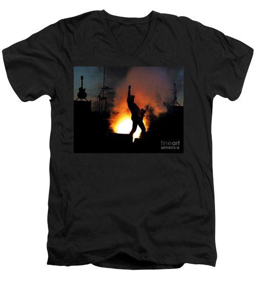 Ted Nugent On Fire Men's V-Neck T-Shirt