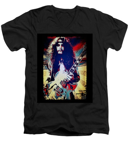 Ted Nugent - Red White And Blue Men's V-Neck T-Shirt by Absinthe Art By Michelle LeAnn Scott