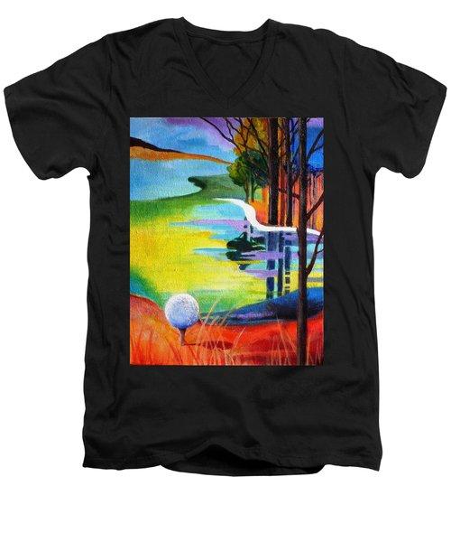 Tee Off Mindset- Golf Series Men's V-Neck T-Shirt by Betty M M   Wong
