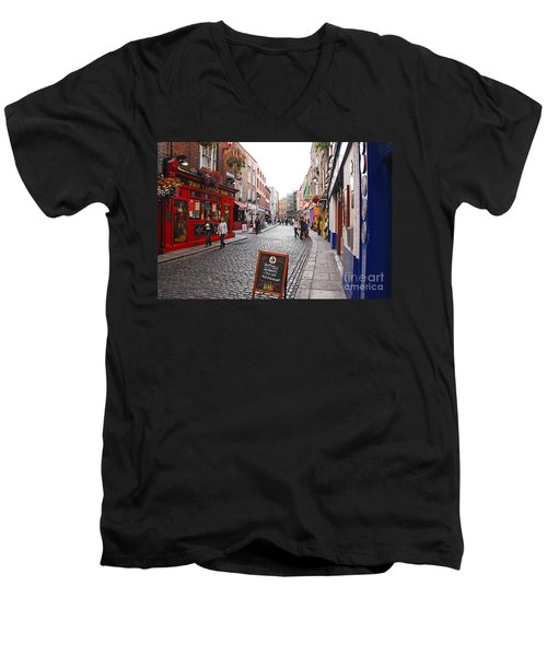 Men's V-Neck T-Shirt featuring the photograph Temple Bar by Mary Carol Story