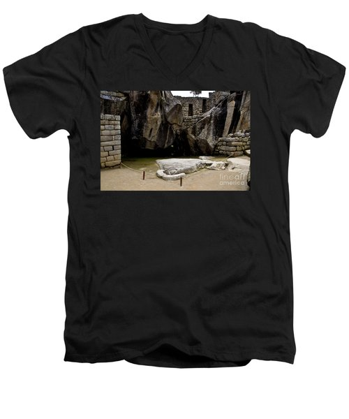 Temple Of The Condor Men's V-Neck T-Shirt by Kathy McClure