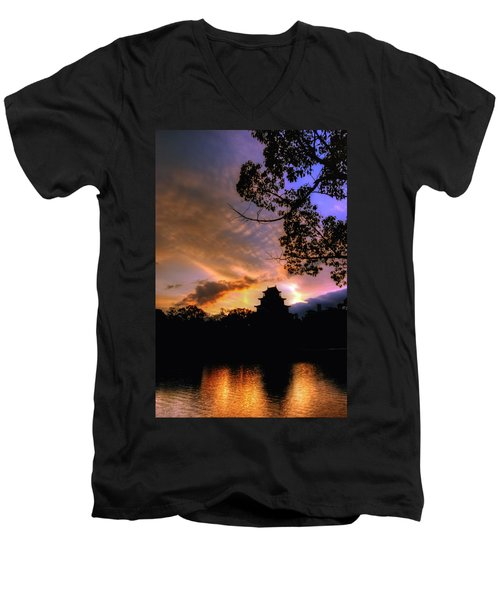 A Temple Sunset Japan Men's V-Neck T-Shirt by John Swartz