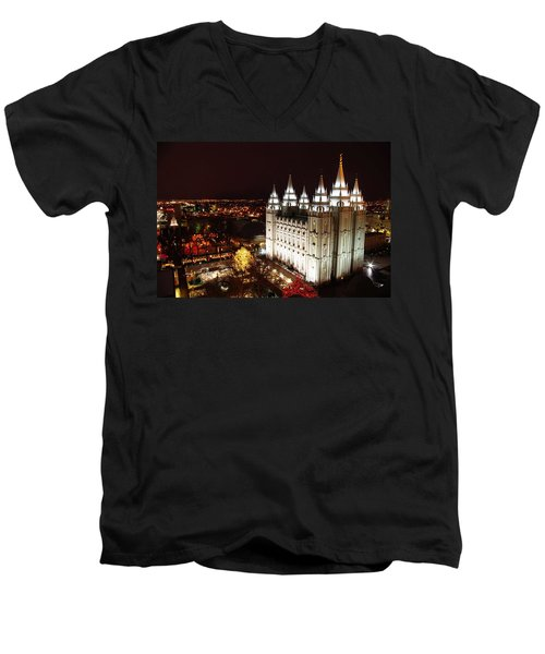 Temple Square Men's V-Neck T-Shirt by David Andersen
