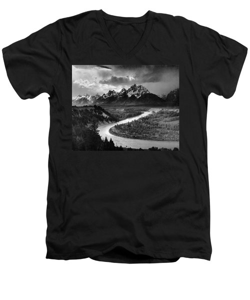 Tetons And The Snake River Men's V-Neck T-Shirt