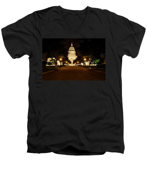 Texas Capitol At Night Men's V-Neck T-Shirt by Dave Files