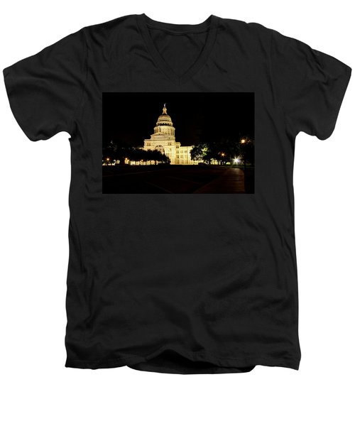 Texas State Capitol Men's V-Neck T-Shirt by Dave Files