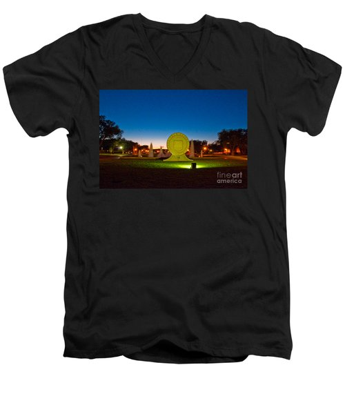 Men's V-Neck T-Shirt featuring the photograph Texas Tech Seal At Night by Mae Wertz