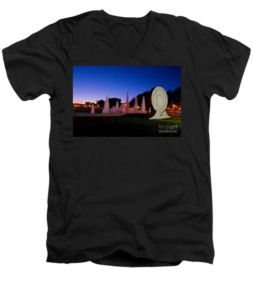 Men's V-Neck T-Shirt featuring the photograph Texas Tech University Seal And Blue Sky by Mae Wertz