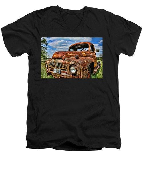 Texas Truck Men's V-Neck T-Shirt by Daniel Sheldon