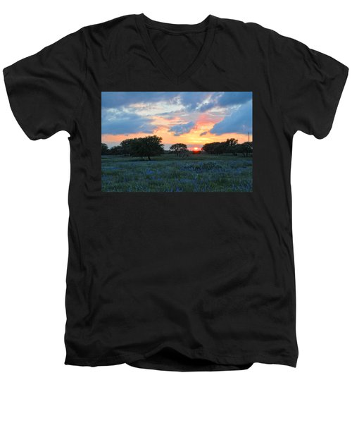 Texas Wildflower Sunset  Men's V-Neck T-Shirt