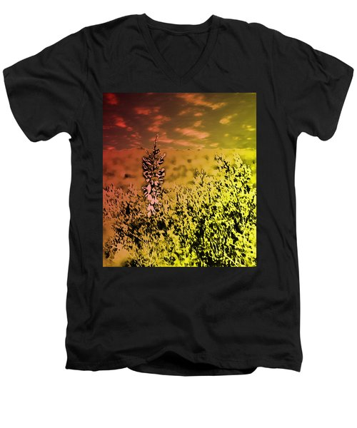 Texas Yucca Flower Men's V-Neck T-Shirt by Bartz Johnson