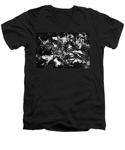 Textured Black And White Series 1 Men's V-Neck T-Shirt