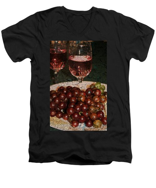 Textured Grapes Men's V-Neck T-Shirt by Barbara S Nickerson