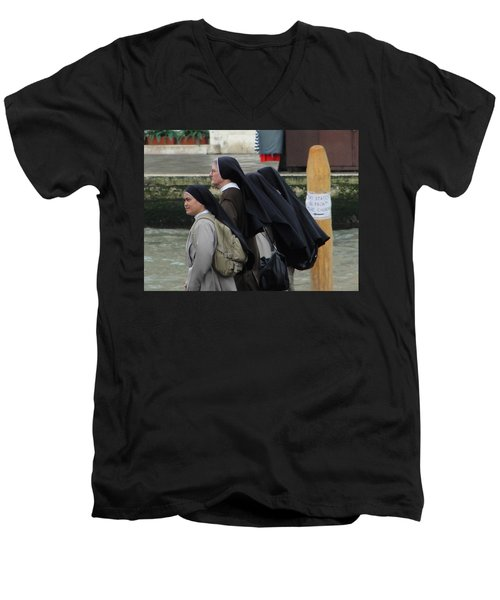 Men's V-Neck T-Shirt featuring the photograph Posted Directions by Natalie Ortiz
