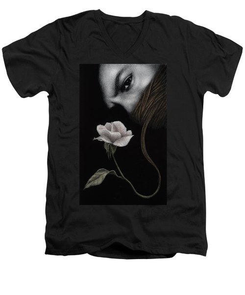 Men's V-Neck T-Shirt featuring the painting That Which Will Not Be Silenced by Pat Erickson