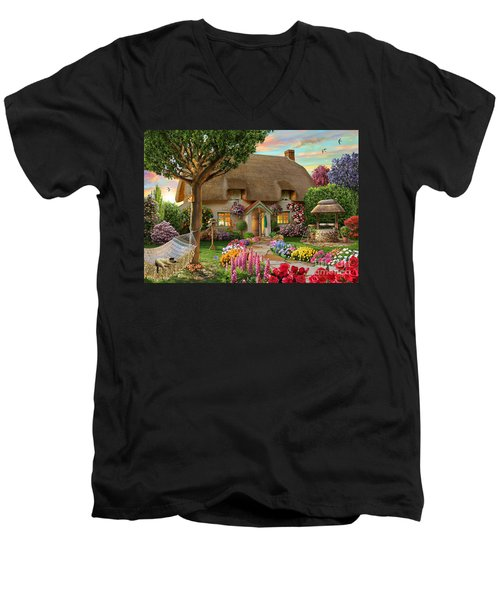 Thatched Cottage Men's V-Neck T-Shirt by Adrian Chesterman