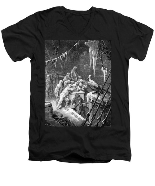 The Albatross Being Fed By The Sailors On The The Ship Marooned In The Frozen Seas Of Antartica Men's V-Neck T-Shirt by Gustave Dore