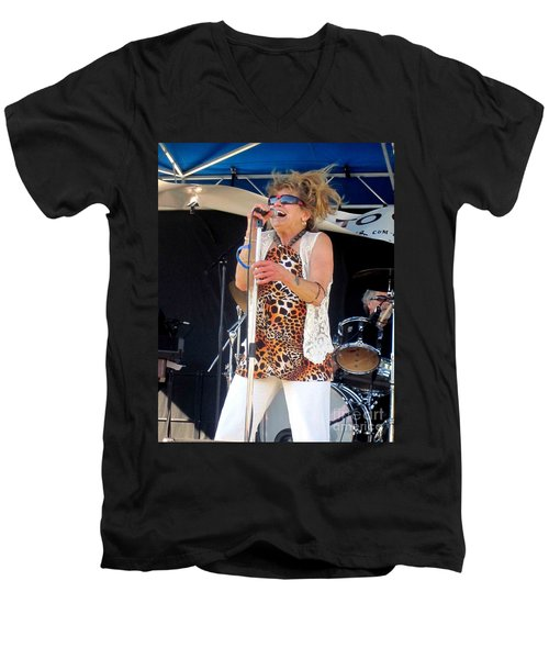Men's V-Neck T-Shirt featuring the photograph The Amazing Lydia Pense by Fiona Kennard