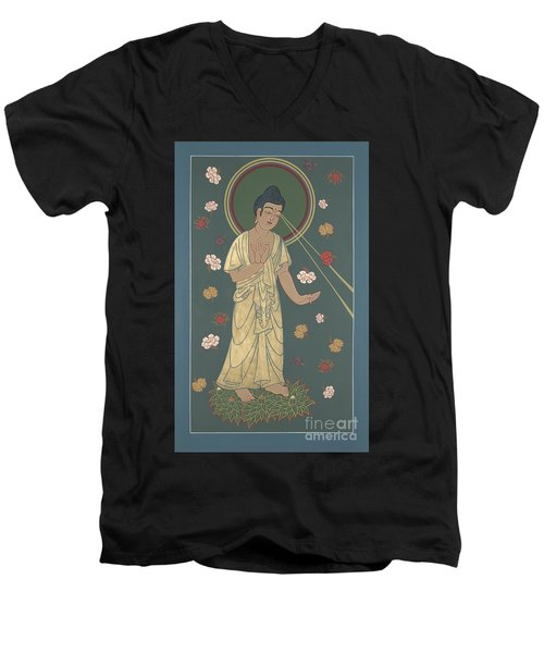 Men's V-Neck T-Shirt featuring the painting The Amitabha Buddha Descending 247 by William Hart McNichols