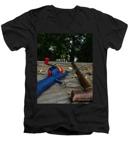 Men's V-Neck T-Shirt featuring the photograph The Anglers by Peter Piatt