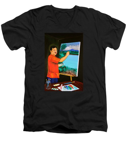 Men's V-Neck T-Shirt featuring the painting The Artist by Cyril Maza