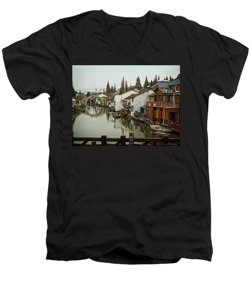 The Asian Venice  Men's V-Neck T-Shirt by Lucinda Walter