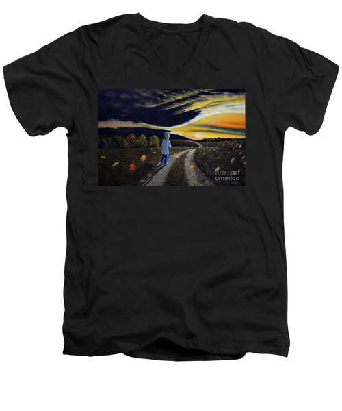 Men's V-Neck T-Shirt featuring the painting The Autumn Breeze by Christopher Shellhammer
