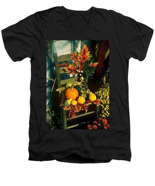 The Autumn Chair Men's V-Neck T-Shirt by Rodney Lee Williams