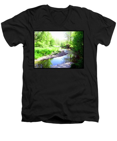 The Babbling Stream Men's V-Neck T-Shirt by Shawn Dall