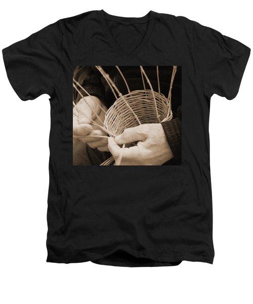 The Basket Weaver Men's V-Neck T-Shirt by Marcia Socolik