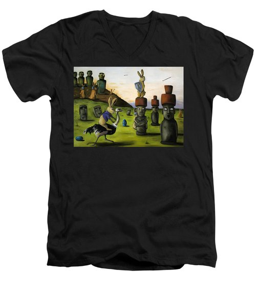 The Battle Over Easter Island Men's V-Neck T-Shirt by Leah Saulnier The Painting Maniac