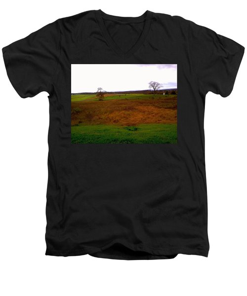 Men's V-Neck T-Shirt featuring the photograph The Battlefield Of Gettysburg by Amazing Photographs AKA Christian Wilson
