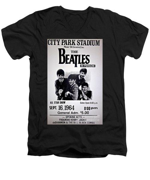 The Beatles Circa 1964 Men's V-Neck T-Shirt