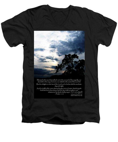 The Bible Psalm 1 Men's V-Neck T-Shirt