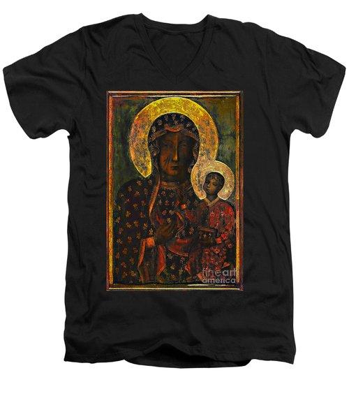 The Black Madonna Men's V-Neck T-Shirt by Andrzej Szczerski