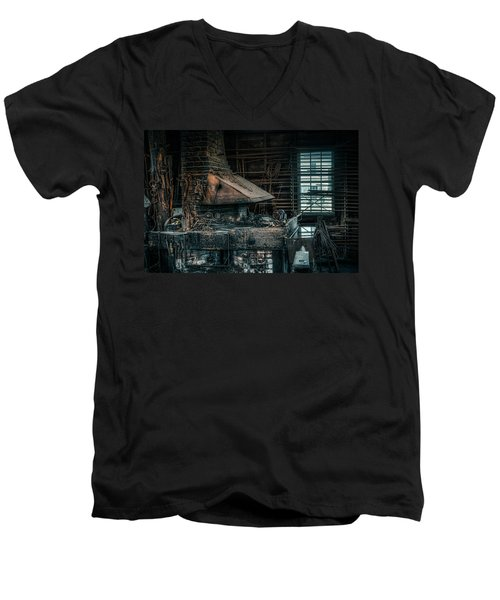Men's V-Neck T-Shirt featuring the photograph The Blacksmith's Forge - Industrial by Gary Heller