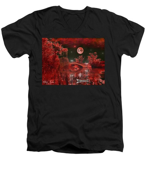 The Blood Moon Men's V-Neck T-Shirt by Michael Rucker