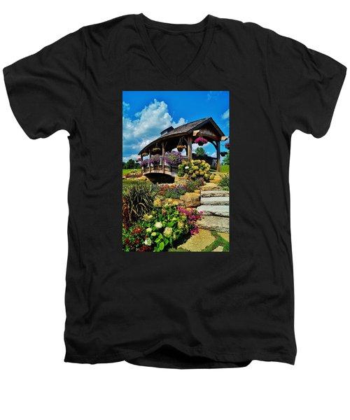 The Bridge  Men's V-Neck T-Shirt by Daniel Thompson