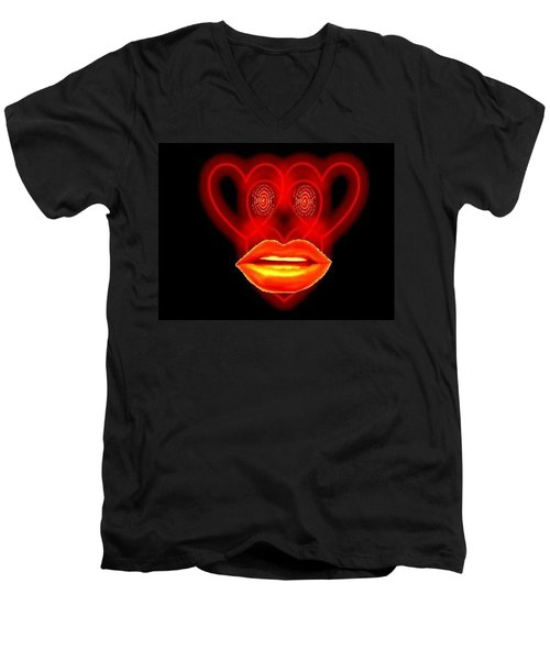 Men's V-Neck T-Shirt featuring the digital art The Broadcast Monkey Hearts by Catherine Lott