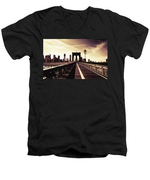 The Brooklyn Bridge - New York City Men's V-Neck T-Shirt