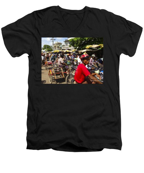 Men's V-Neck T-Shirt featuring the photograph The Bustling Traffic On 27th Street Zay Cho Street Market Mandalay Burma by Ralph A  Ledergerber-Photography
