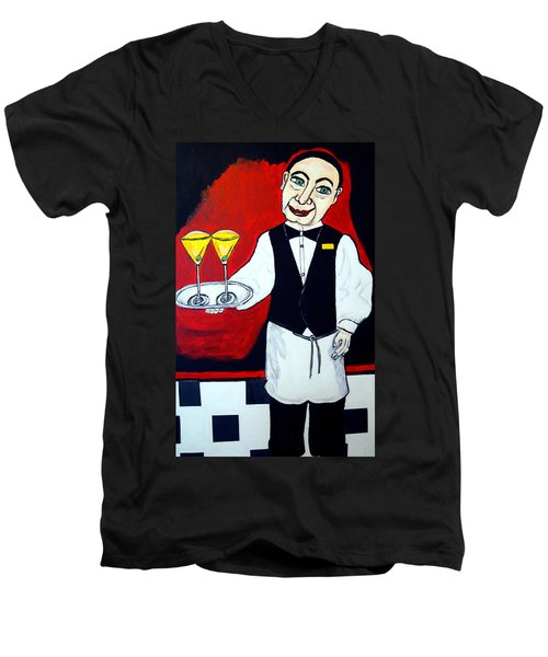 Men's V-Neck T-Shirt featuring the painting The Butler  by Nora Shepley