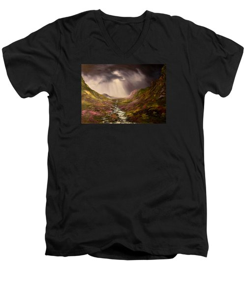 Men's V-Neck T-Shirt featuring the painting The Cairngorms In Scotland by Jean Walker