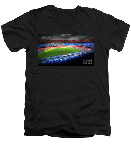 The Camp Nou Stadium In Barcelona Men's V-Neck T-Shirt by Michal Bednarek