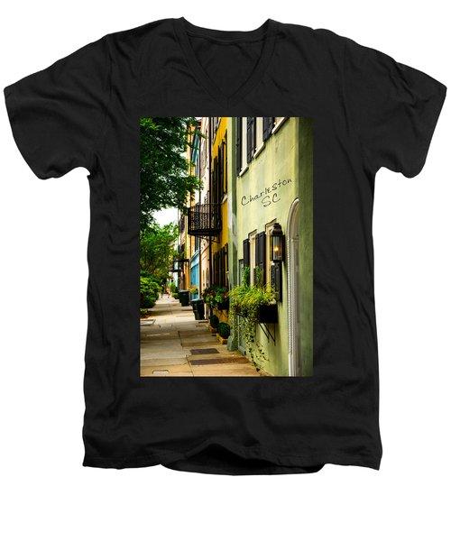 The Charm Of Charleston Men's V-Neck T-Shirt by Karol Livote