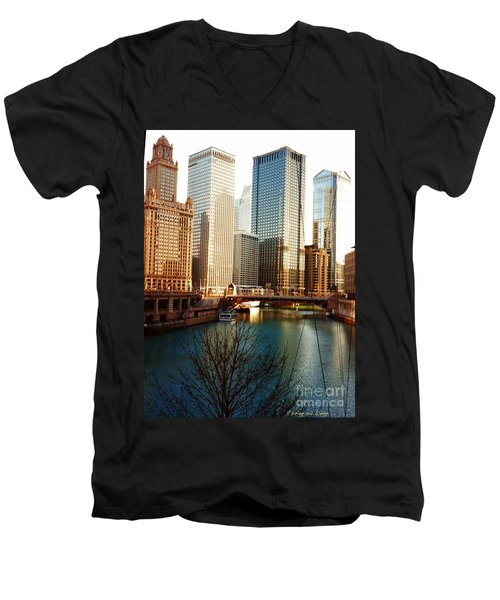 The Chicago River From The Michigan Avenue Bridge Men's V-Neck T-Shirt by Mariana Costa Weldon