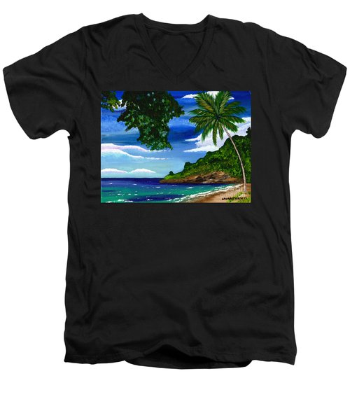 Men's V-Neck T-Shirt featuring the painting The Coconut Tree by Laura Forde