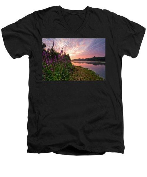 The Color Purple Men's V-Neck T-Shirt by Davorin Mance
