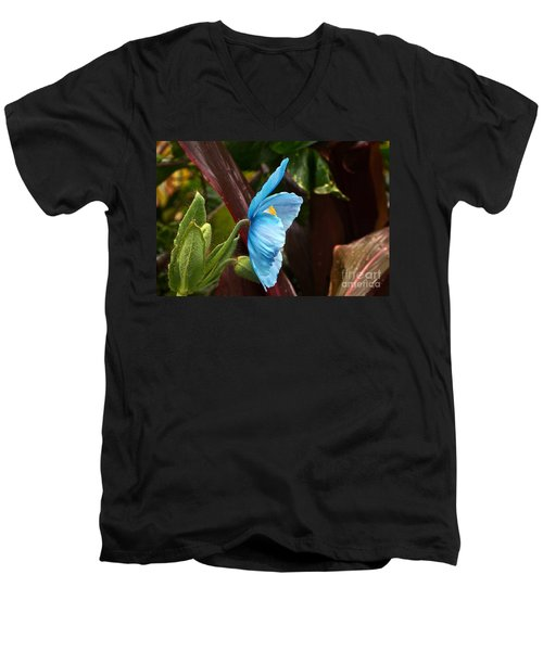 The Colors Of The Himalayan Blue Poppy Men's V-Neck T-Shirt