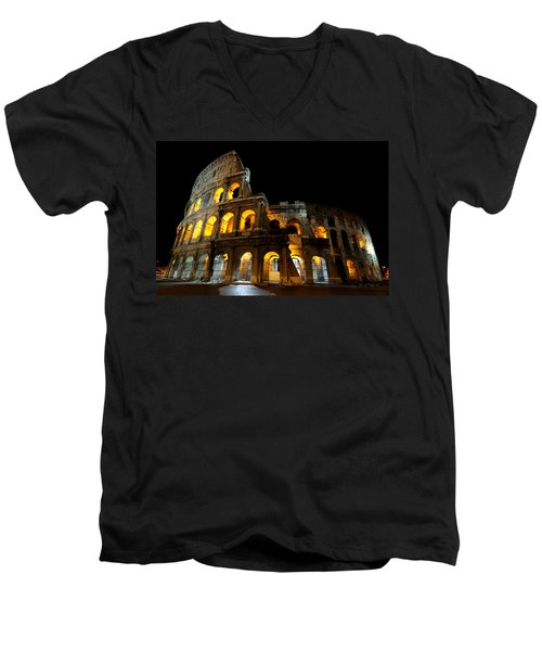 The Colosseum At Night Men's V-Neck T-Shirt by Jeremy Voisey